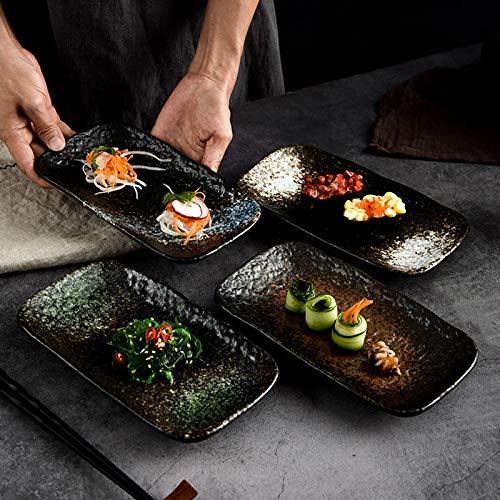 XHHXPY 4 Pièces Assiettes à Sushi Plateau de Service Créatif Rectangulaire de 9 Pouces Plateau à Sushi en Porcelaine pour Les Sushis, Salades, Apéritifs, Fêtes, Cadeaux