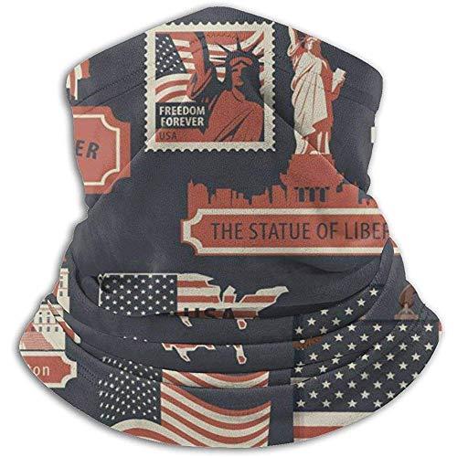 Bandera de EE. UU. Bolsa de viaje Etiqueta Cuello Calentador Calor Sun-ProNeck Gaiter Tube Soft Half Mask...