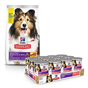 Hill's Science Diet Dry Dog Food, Adult, Sensitive Stomach & Skin, Chicken Recipe with Diet Wet Dog Food, Adult, Sensitive Stomach & Skin, Salmon & Vegetable Recipe