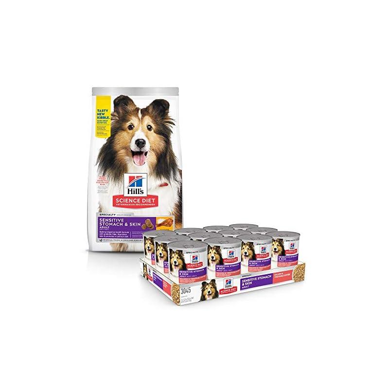dog supplies online hill's science diet dry dog food, adult, sensitive stomach & skin, chicken recipe with diet wet dog food, adult, sensitive stomach & skin, salmon & vegetable recipe