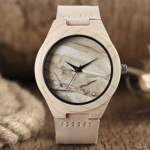 UIOXAIE Reloj de Madera Reloj de Madera con diseño de Cara de mármol, Estilo analógico Minimalista, Reloj de bambú Natural para Hombres y Mujeres, Deporte de Cuarzo