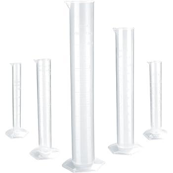 3 St/ück 100 ml transparent Messzylinder Sourcingmap Messzylinder f/ür chemische Messungen Kunststoff Sechskantsockel Wei/ß