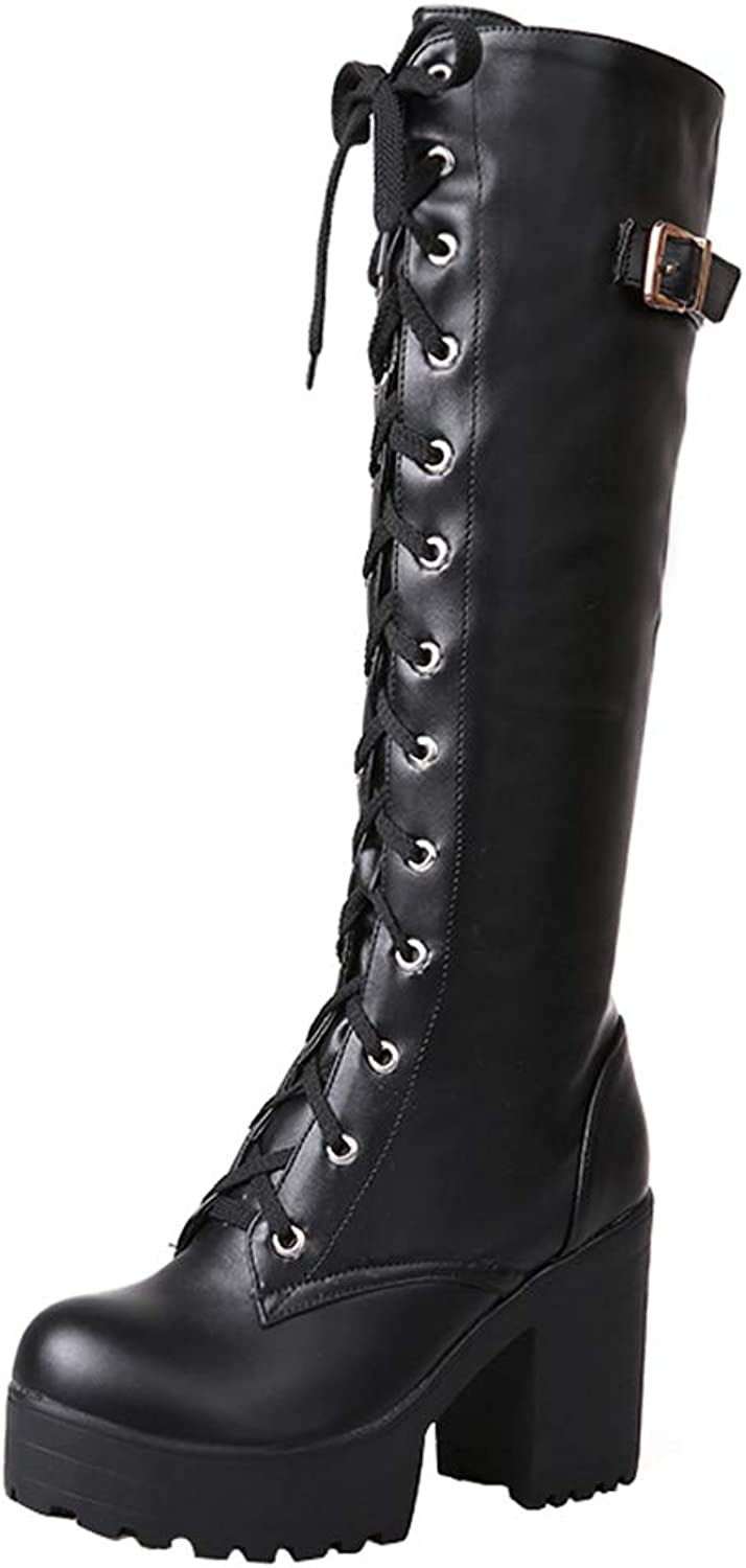 Vitalo Womens Chunky Platform Knee High Heel Lace Up Combat Boots