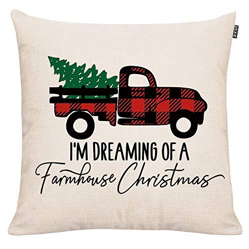 GTEXT - Funda de Almohada Decorativa navideña, diseño de Cuadros, para sofá, decoración del hogar, Almohadas de Lino de 18 x 18 Pulgadas