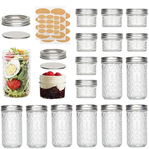 UHAPEER Tarros Mason con tapas y bandas plateadas, 8 paquetes de 12 onzas y 8 tarros de cristal de 4 onzas, ideales para mermelada, miel, recuerdos de boda, recuerdos de ducha con etiqueta engomada