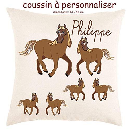 Coussin avec sa Housse Toucher très Doux Cheval Personnalisable avec un Prénom Exemple Philippe