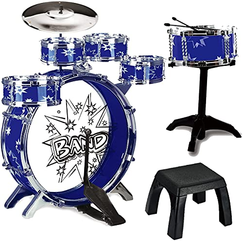 12 Piece Kids Jazz Drum Set – 6 Drums, Cymbal, Chair, Kick Pedal, 2...