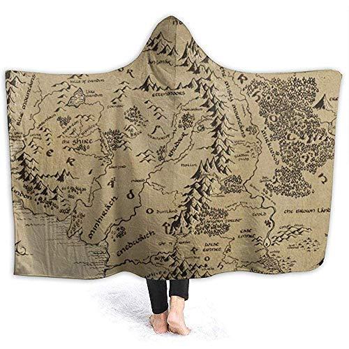 F.L.OPOPO Hooded Blanket Hoodie Decke Mittelerde Karte mit Kapuze Throw Wrap Cape Mantel Pullover Kleinkinder Durable Tv Filme Schal Flanell Fleece mit Ärmeln, 153X204Cm