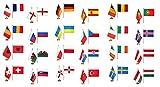 Flaggenfritze–Bandera de tischflaggen Juego EM 2016–15x 22cm, Todas Las Naciones 24+ Gratis Pegatinas