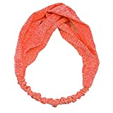 Damen Stirnband Einfarbig Farbe Haar Band Boho Twist Knoten Elastisch Wickeln Turban Yoga Sport GreatestPAK,Orange