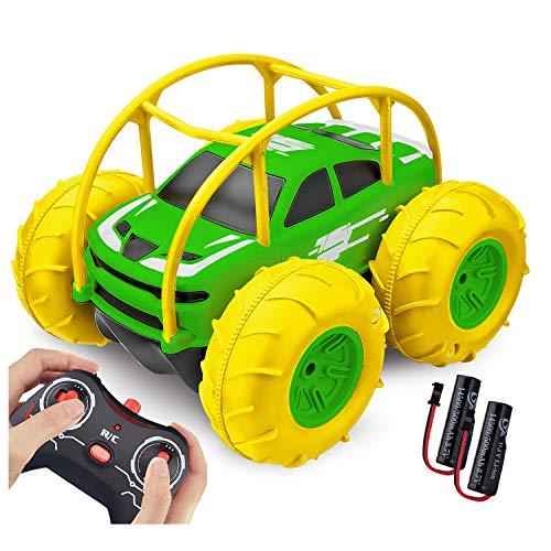 Coche Teledirigido, 2.4 GHz 4WD RC Coche Anfibio Acrobacia Rotación Volteo de 360 Grados, Juguete Impermeable, con Batería Recargable, Regalo para niños (Amarillo Oscuro)