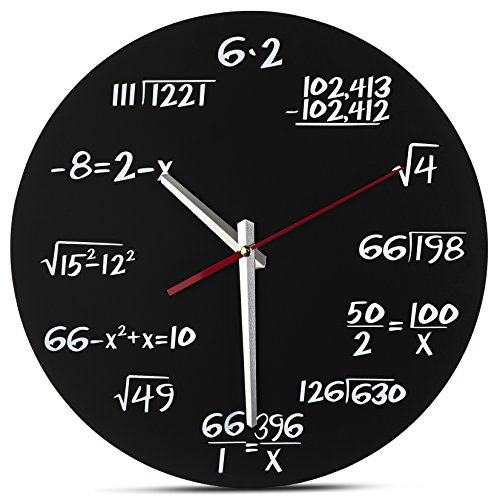 Decodyne Math Wall Clock - Unique Wall Clock - Each Hour Marked by a Simple...