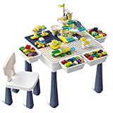 Toddler Activity Table, Kids Table & Chair Set All-in-One Multi Activity Playset Compatible Building Block and Water Table Outdoor Play Sand Table, 100PCS Track + 50PCS Large Building Blocks