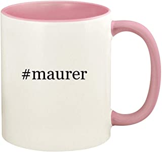 #maurer - 11oz Hashtag Ceramic Colored Handle and Inside Coffee Mug Cup, Pink