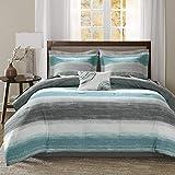 Madison Park Essentials Cozy Bed in a Bag Comforter, Vibrant Color Design All Season Down Alternative Cover with Complete Sheet Set, Queen(90'x90'), Stripe Aqua