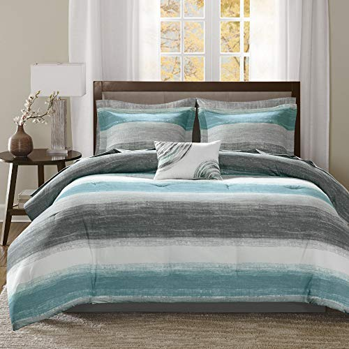 """Madison Park Essentials Cozy Bed in a Bag Comforter, Vibrant Color Design All Season Down Alternative Cover with Complete Sheet Set, Twin(68""""x86""""), Strip Aqua"""