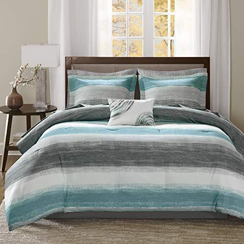"Madison Park Essentials Cozy Bed in a Bag Comforter, Vibrant Color Design All Season Down Alternative Cover with Complete Sheet Set, Queen(90""x90""), Stripe Aqua"