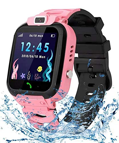 Kids Smart Watch for Boys Girls- Child Smart Watch Phone, LBS Tracker Waterproof Smartwatch Children SOS Touch Screen Camera Two-Way Call Best Gift for 3-12 Years Old(Pink)