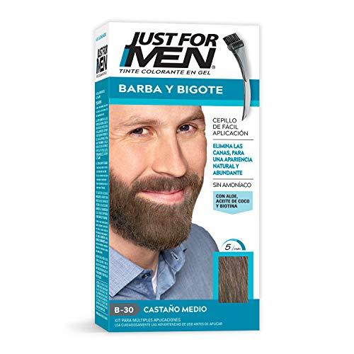 Just For Men Tinte Colorante en Gel para Barba y Bigote, Cubre las Canas, Color Castaño Medio (B-30), 28.4 g