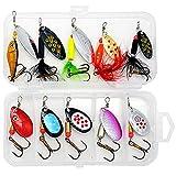 OYSJ 10PCS Señuelos de Pesca Kits, Cucharillas de Pesca Kit,Kit Señuelosde Cucharilla de Pesca para Lucio Perca Trucha