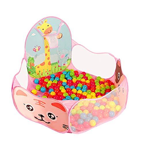 WYQ Parc de Balle pour Enfants, Piscine Sea Ball pour Enfant en Bas âge (Parc pour bébé de 120 cm, Panier de Basket, Sac de Rangement, 300 balles en Plastique) barrière de sécurité (Couleur : Pink)