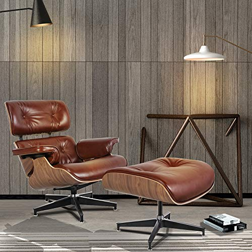 Mid Century Lounge Chair Indoor Recliner w/Ottoman Full Grain Italian Aniline Leather Classic Modern Living Room Bedroom Reading Gaming Comfortable Plywood Swivel Sofa (Bright Brown+ Walnut)