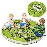 Sac de rangement pliable et tapis de jeu LinStyle, grand sac à jouets pour enfants, sac à cordon lavable pour jouets, adapté pour ranger les jouets (Vert)