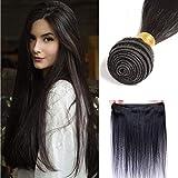 50cm - Extensiones Cortina de Pelo Natural sin Procesar Negro 100g Extensiones de Cabello Humano 100% Remy Human Hair Extensions - Straight