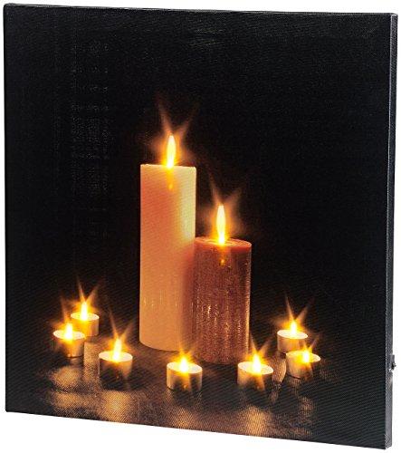 infactory LED Bild: Wandbild Kerzenlicht mit flackernder LED-Beleuchtung, 40 x 40 cm (Beleuchtete Bilder)