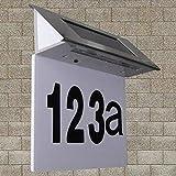 Lampada solare per numero civico, in acciaio INOX, con luce a LED, numero civico, lampada da parete e targhetta per porta, alimentata a energia solare