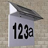 Lámpara solar para número de casa, de acero inoxidable, con luz LED, para número de casa, para pared, para puerta