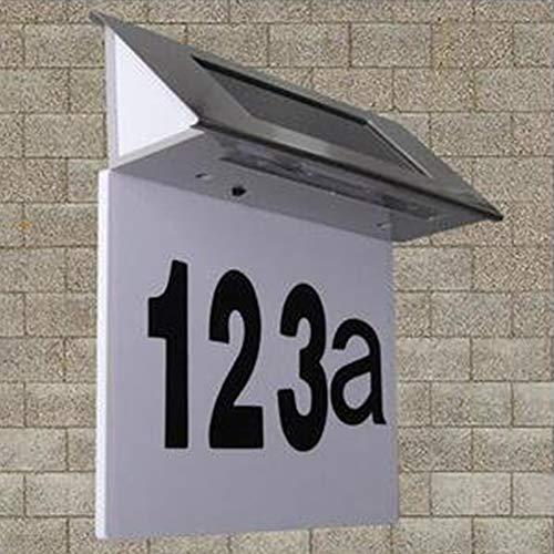 Solar Hausnummernleuchte Edelstahl LED Licht beleuchtete Hausnummer Wandleuchte Türschild Solarbetrieben Hausnummer Solarleuchte Leuchte Solarleuchten (wie abgebildet)