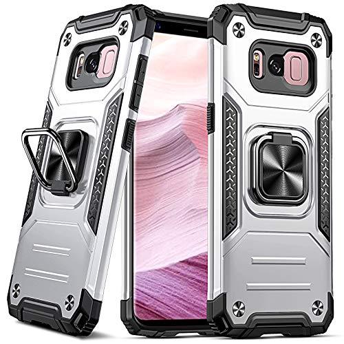 DASFOND Diseñado para Funda para Galaxy S8, Funda Protectora para teléfono de Grado Militar con Soporte de Anillo metálico Mejorado [Soporte magnético] Compatible con Samsung Galaxy S8, Plata