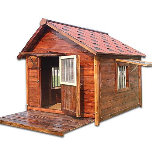 XBSD massief houten hondenhutten, weerbestendige blokhut in de openlucht, huisdiermeubels, weerbestendige hondenhut van natuurlijk hout