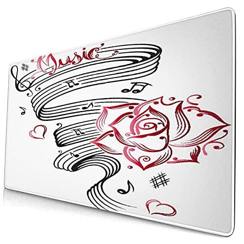 RUBEITA Alfombrilla de ratón Decorativa Grande para Juegos,Tatuaje Language of Love Music Print,Alfombrilla Larga para ratón de computadora con Base de Goma Antideslizante para Oficina/Juegos/hogar