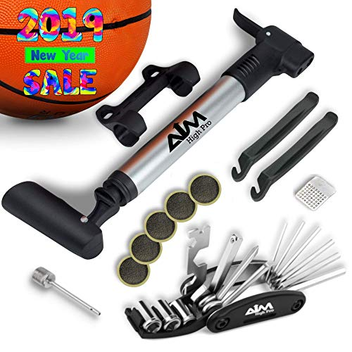 Bike Repair Kit with Pump - Bike Multitool - Tire Levers - Ball Needle - Frame Mount Mini Bike Pump Portable Presta & Schrader Compatible – Self Adhesive Patches – Bike Tire Repair Kit