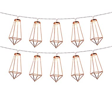 Omika Rose Gold Geometric Led Fairy Lights, USB Plug & Battery Powered, Boho Metal Led Lantern String Lights – Perfect for Multipurpose use, 10 lights (5ft/1.8m Warm White)