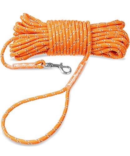 Joytale Reflektierend Schleppleine für Hunde, 15m Kein Verheddern Ausbildungsleine mit Handschlaufe für Welpen und Kleine Hunde
