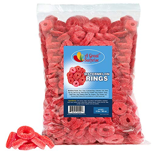 Watermelon Rings - 5 LB - Gummy Candy - Bulk Candy - Red Candy - Gummy Rings