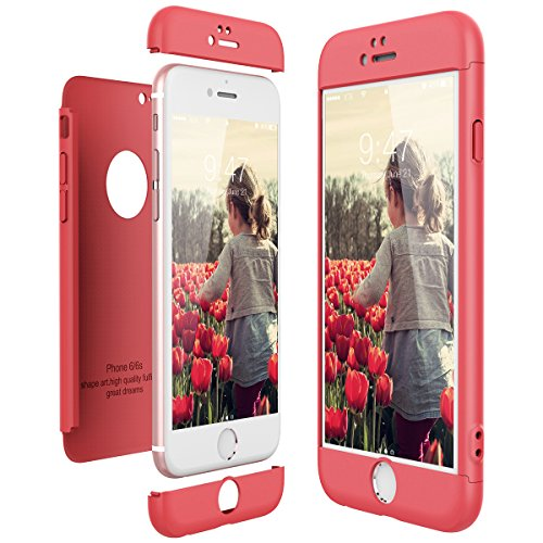 CE-Link Funda para Apple iPhone 6 6S Rigida 360 Grados Integral, Carcasa iPhone 6 Silicona Snap On Diseño Antigolpes Choque Absorción, iPhone 6S Case Bumper 3 en 1 Estructura - Rojo