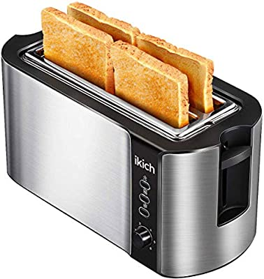 IKICH 4 Slice Toaster Stainless Steel Extra Wide 4Slice Long Slot Toaster with 6 Browning Setting(Warming Rack/Variable Width/High-Lift/1500W, Defrost/Reheat/Cancel Function)[Energy Class A+++]