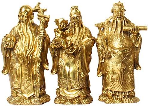 Online limited product Free shipping on posting reviews LAOJUNLU Bronze Pure Copper Crafts Ornaments Fu Lushou Sanxian S