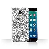 Phone Case for Meizu MX4 Pro Black Fashion Flower Sketch