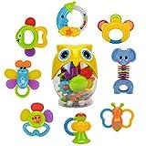 WISHTIME Giocattoli Sonagli Shake Rattle per Neonati Bambini 8 Pezzi con Adorabile Colore ...