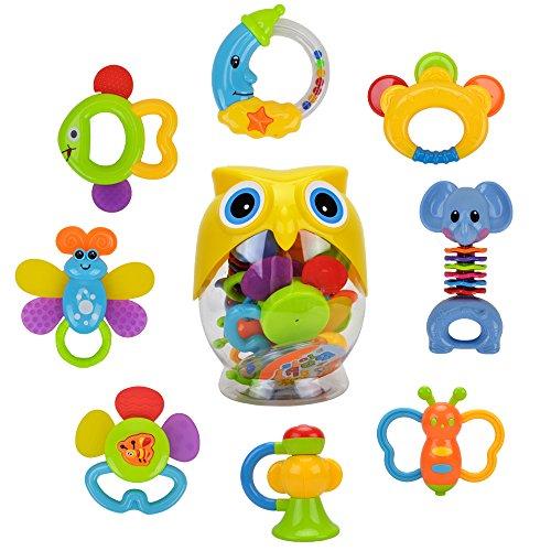 WISHTIME Giocattoli Sonagli Shake Rattle per Neonati Bambini 8 Pezzi con Adorabile Colore nella Bottiglia del Gufo