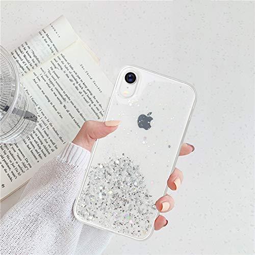 Nupcknn Funda Brillantina para iPhone XR, Ultra Fina Silicona Transparente TPU Funda y Protector Anti-arañazos Estrella Carcasa para iPhone XR(Transparente)