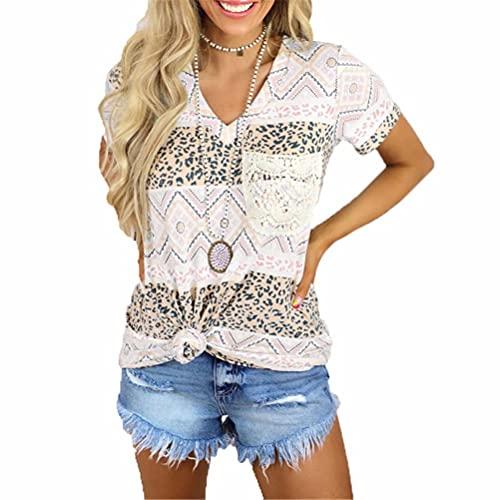 ZFQQ Camiseta Casual Suelta con Cuello en V de Manga Corta y Estampado Multicolor para Mujer de Verano