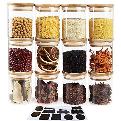 Aoligei 12 Stück Gewürzgläser, Vorratsdosen Glas Gewürzgläser Luftdicht Glasbehälter aus Glasdose Mit Deckel Set, Vorratsdosenset Glas Aufbewahrung Küche Teedosen Gewürzgläser - 200ml