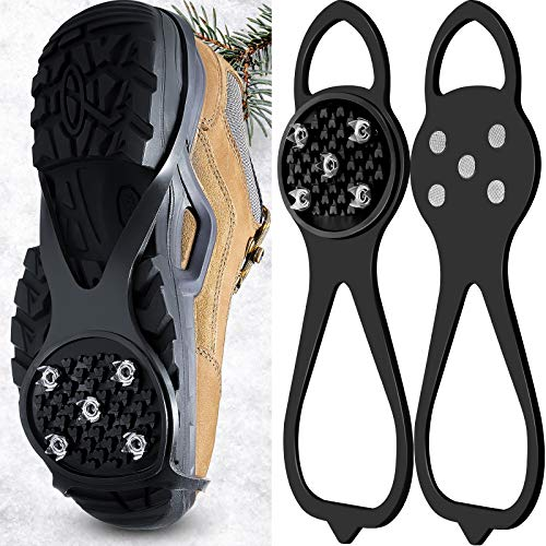 1 Pair NonSlip Gripper Spikes Claw Universal Ice No Slip Snow Shoe Spikes AntiSkid Snow Ice Shoe Spikes for Hiking Skiing Walking Mountaineering Shoes and Boots Black