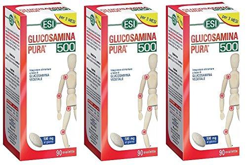 ESI - GLUCOSAMINA PURA 500 3 CONFEZIONI DA 90 OVALETTE articolazioni, mobilità, dolore, cartilagine